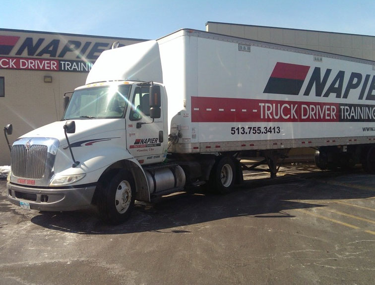 Pictured is a new Napier truck sitting outside of the Napier office building.