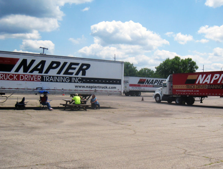 Pictured are a few pieces of equipment that are used by our trucking students.