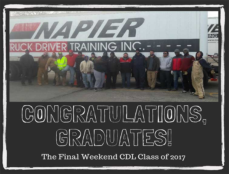 image of Napier CDL students standing in a group photo in front of Napier logo on semi tractor with text below reading Congratulations, Graduates, final weekend class of 2017