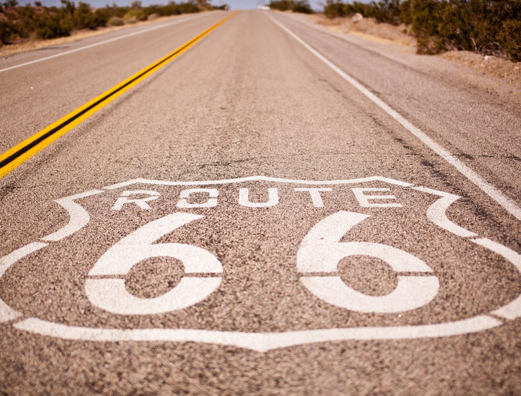 Route 66 painted on the highway