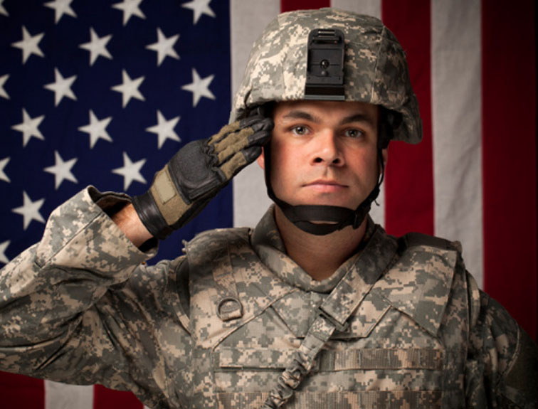 Military soldier saluting in front of American flag