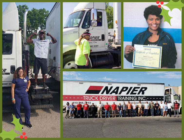 A collage of Napier Truck Driver Training students.