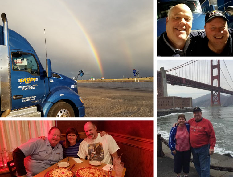Collage of CDL graduate travels on the road.