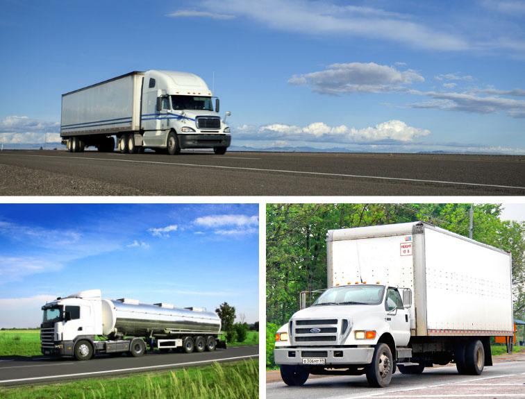Three different types of trucks: semi, tanker, and box truck