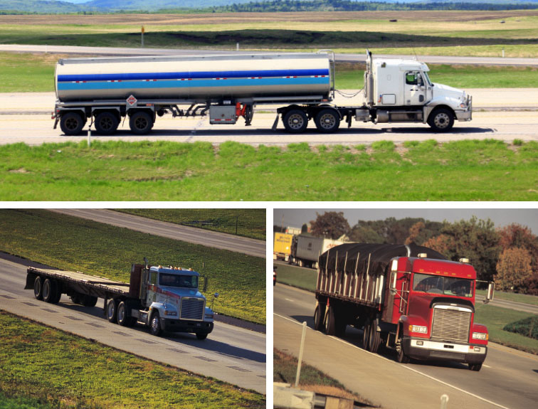 A collage of three semi trucks driving down country roads