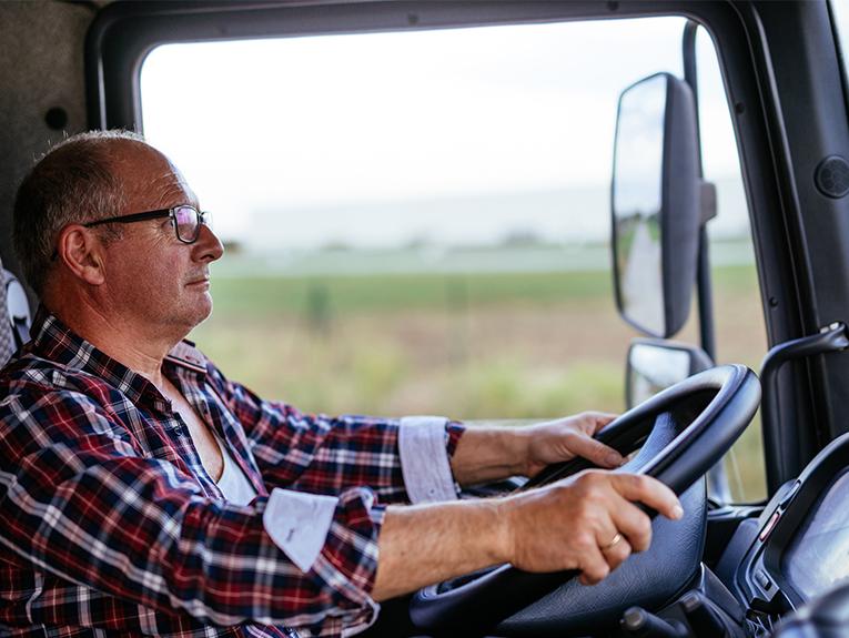 Semi Truck Driver in Cab